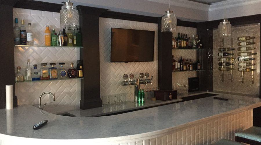 Custom Glass Bar Shelves and Memorabilia Showcase at North Caldwell, NJ Home